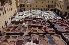 Дубильня Chouwara кожаная традиционная в старом medina Fes El Стоковые Изображения RF