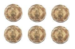 Дубликат 6 Индий 2 монетки рупии стоковое изображение