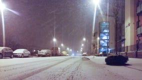 Дублин, Ирландия - идущ снег в вечере Стоковые Изображения RF