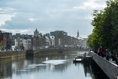 ДУБЛИН, ИРЛАНДИЯ - 31-ОЕ АВГУСТА 2017: Город Дублина Ирландии Стоковое фото RF