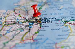 Дублин на карте Стоковая Фотография