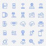 дублирование красит комплект связи включенный иконой 25 значков вектора пакуют иллюстрация вектора