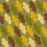 Cute background with colored oak leaves. Cute childish background with colored leaves. Can be used like retro textile design. Or funny camouflage for kids stuff vector illustration
