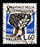 Дуб, 10 лет итальянского serie конституции, около 1958 Стоковое фото RF