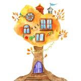 Дуб сказки акварели с окнами, гирляндами, лампами, сигнализирует иллюстрация штока