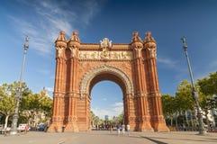 Дуга de Triomf, компании Lluis гуляет и парк в Барселоне, Испании стоковые фотографии rf