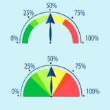 Дуговидные индикаторы со стрелки иллюстрация штока