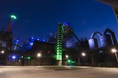 Дуйсбург, Германия - 17-ое мая 2015: Landschaftspark загорелось Стоковые Изображения RF
