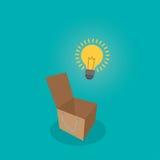 Думайте лампочка вне концепции коробки, думайте концепция идеи, плоская иллюстрация вектора стиля Стоковые Фотографии RF