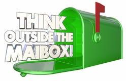 Думайте вне почтового ящика Innovate поставка 3d Illustrat сообщения Стоковые Изображения RF