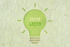 Думайте зеленый цвет - концепция экологичности Стоковые Изображения RF