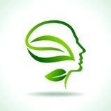 Думайте концепция земли спасения зеленого цвета экологическая иллюстрация штока