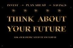 Думайте о вашем будущем - проинвестируйте - сбережения плана вперед - иллюстрация вектора