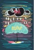 Думайте положительная мотивационная цитата Doodle плаката Стоковое Изображение RF