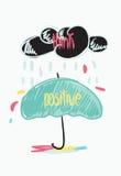 Думайте положительная мотивационная цитата Doodle плаката Стоковое фото RF