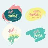 Думайте положительный мотивационный комплект цитаты Doodle плаката Стоковые Изображения RF
