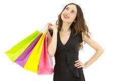 Думать женщины покупок Стоковое Изображение