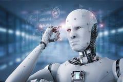 Думать робота андроида Стоковая Фотография