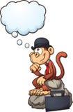 Думая обезьяна иллюстрация вектора