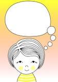 Думая поздравительная открытка воздушного шара и девушки стоковое изображение rf