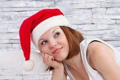 Думая Санта-девушка Стоковые Изображения RF