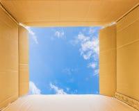 Думая снаружи открытая коробка к небу Стоковая Фотография