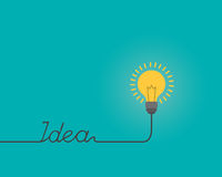 Думая форма лампочки идеи для ` ИДЕИ ` текста, концепции воодушевленности, плоской иллюстрации стиля Стоковое Фото