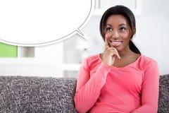 Думая чернокожая женщина стоковое фото rf