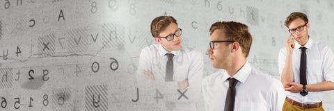 Думая человек в последовательности с письмами и номера переводят Стоковое Изображение RF