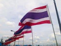 Дуновение флага Таиланда Стоковые Фото