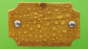 Дуновения ветра на дождевых каплях на светлой деревянной доске с болтами утюга Изолировано на зеленой предпосылке видеоматериал