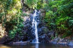 Дуриан водопада который падая в естественный бассейн в тропическом лесе, на острове в Азии стоковое фото