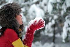 дуть вручает ее женщину снежка Стоковое Изображение RF