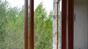 Дуть сильного ветера Посмотрите через открытое деревянное окно видеоматериал