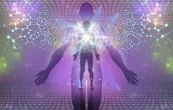 Духовная человеческая концепция будить или Enlightment иллюстрация вектора