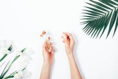 Дух в женских руках, цветках и лист ладони Стоковые Фотографии RF