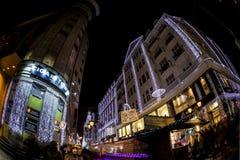 Дух рождества и светлая выставка в центре города Будапеште Стоковое Изображение