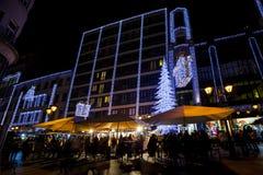 Дух рождества и светлая выставка в центре города Будапеште Стоковое фото RF