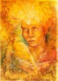 Дух фантазии золотой светлый fairy с 2 птицами Феникса и шлюпкой иллюстрация штока