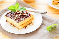 Душистые waffles с шоколадом Стоковые Фотографии RF