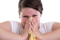 Дующ ваш нос слишком трудный и кровоточить Стоковые Фото