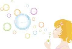 дуя девушка пузырей Стоковое Изображение RF
