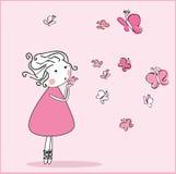 дуя девушка butterflieas Стоковая Фотография