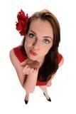дуя женщина поцелуев молодая Стоковое Изображение RF