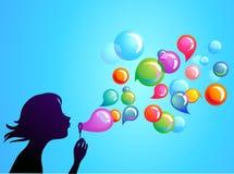 Дуя пузыри мыла - 1 иллюстрация вектора