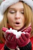 дуя снежинки стоковые фото