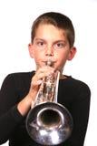 дуя trumpet малыша Стоковые Фотографии RF