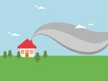 дым дома печной трубы Стоковая Фотография RF