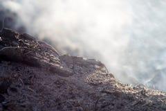 Дым и золы долгой выдержки костра макрос конца-вверх стоковое фото