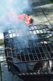 Дым и огонь Hibachi Стоковое фото RF